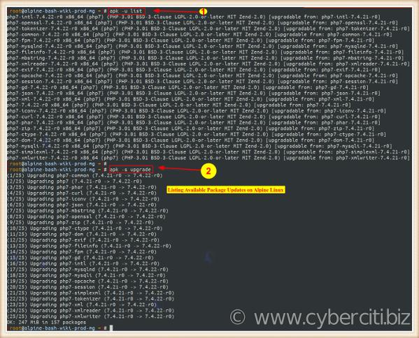 Lista de actualizaciones de paquetes disponibles para Alpine Linux