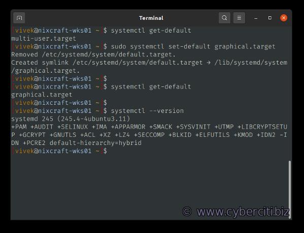 Cambiar el destino de arranque de systemd en Linux a la GUI