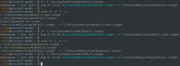 Cambie el destino systemd predeterminado mediante un enlace simbólico en Linux