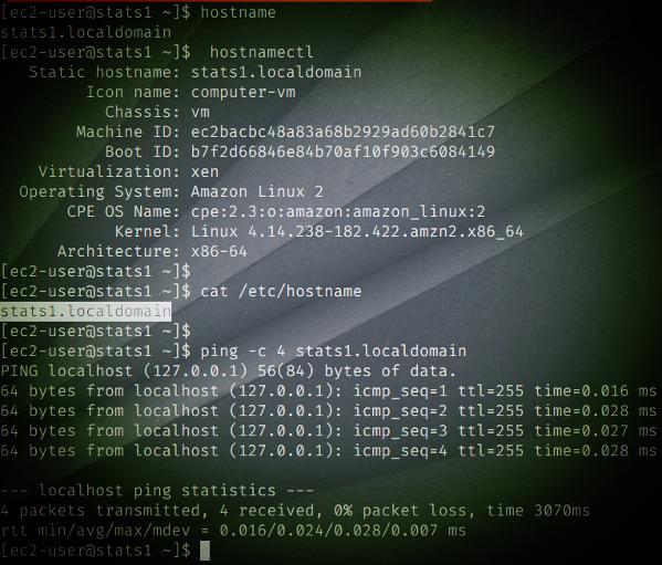 Verifique el comando de Amazon Linux para cambiar el nombre de host