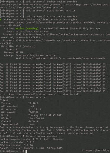Amazon Linux 2: instale docker y docker-compose sin el comando 'sudo amazon-linux-extras'