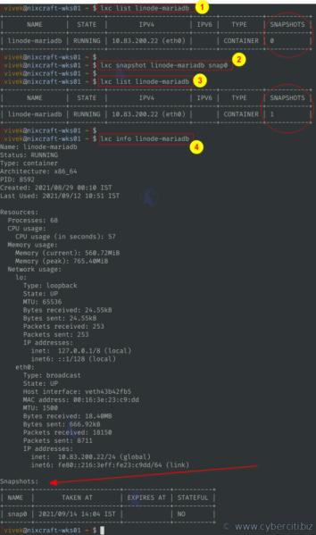 Cómo enumerar las instantáneas de lxc para LXD en Linux