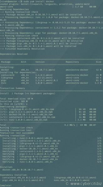 Instale Docker en la AMI de Amazon Linux 2 con el comando yum