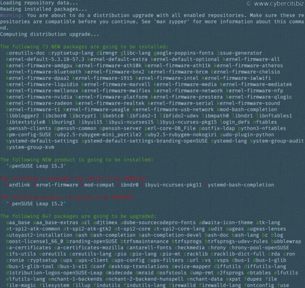 Actualice OpenSUSE 15.2 a 15.3 con zypper