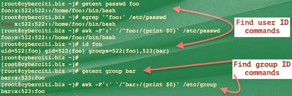 Fig.01: getent and friends demo on a Linux or Unix system to find out user and group names