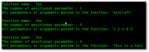 Fig.01: Bash function displaying number of arguments passed to foo()