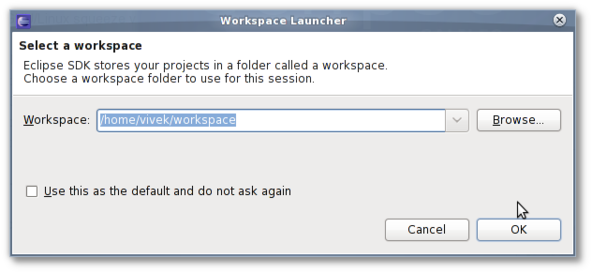 Fig.02: Choose a workspace folder