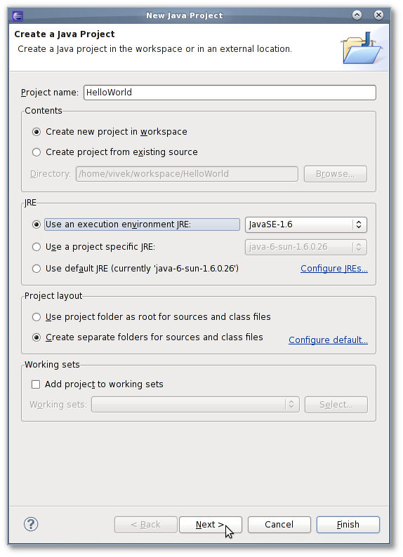 Fig.05: Setting the project name