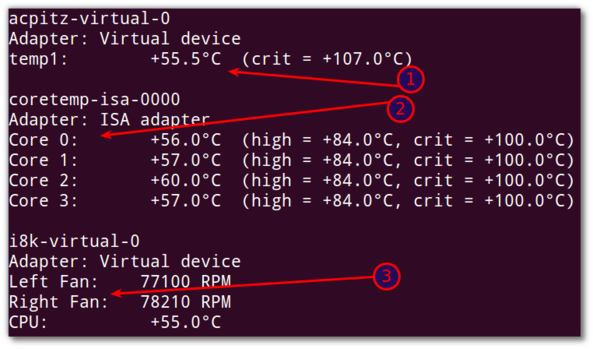 Fig.01: sensors command in action -  show the current readings of all sensor chips on Dell laptop