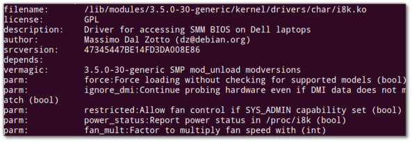 Fig.02: Displaying information about a Linux Kernel module called i8k