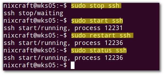 Fig.01: Ubuntu using initctl (upstart) to control sshd process