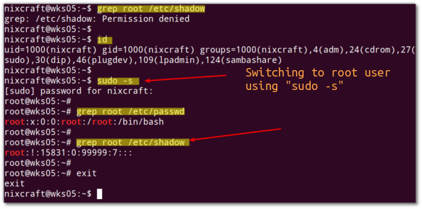 Fig.01: Switching to root account using sudo command