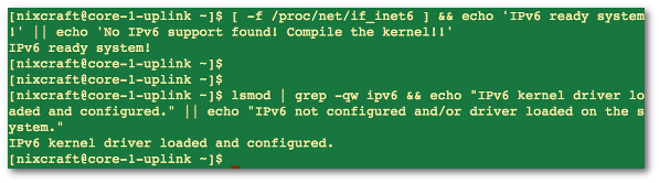 Fig.02: Verifying Linux IPv6 support.