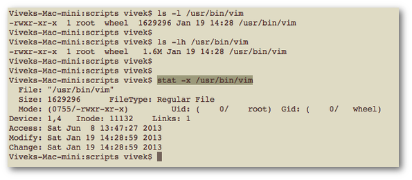 Fig.01: Finding out file size using various command line options on OS X Unix OS