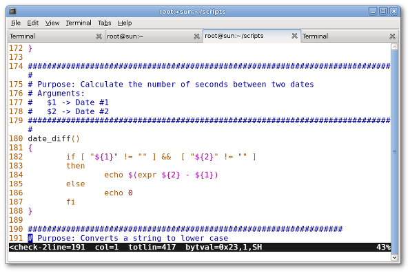 Fig.01: vi/vim in action with line numbers