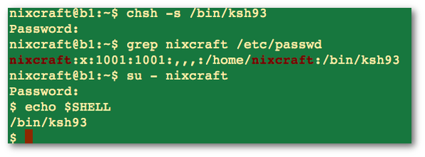 Fig.02: Attempt to change the user's shell to /bin/ksh (/bin/ksh93)