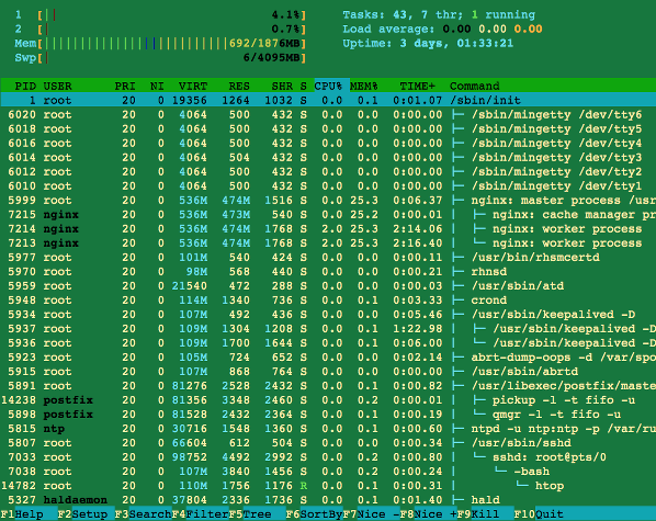 Fig.01: htop command in action