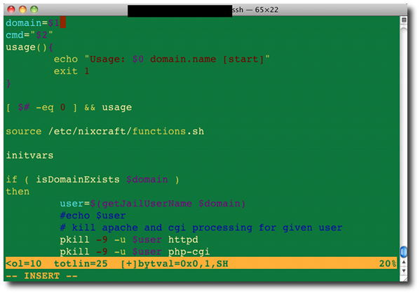 Fig01 Bash Shell Script Syntax Highlighting Using Vim Text Editor