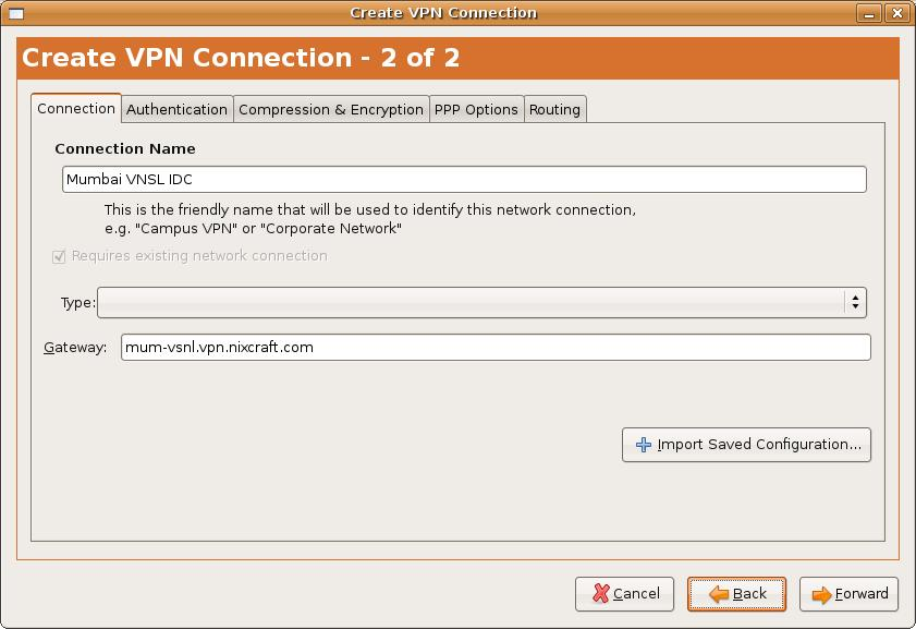 Linux configure point to point tunneling PPTP VPN client for