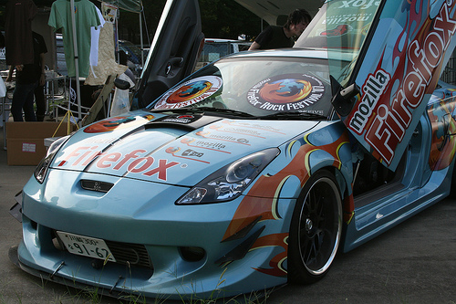 "The Firefox car (logo posted on a car) was debuted ar Mozilla 24 ""Firefox Rock Festival"" in Tokyo"