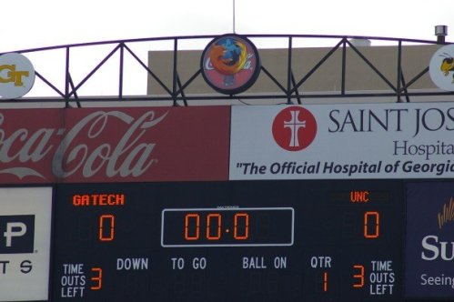 Firefox fathead stickers on Georgia Institute of technology football stadium