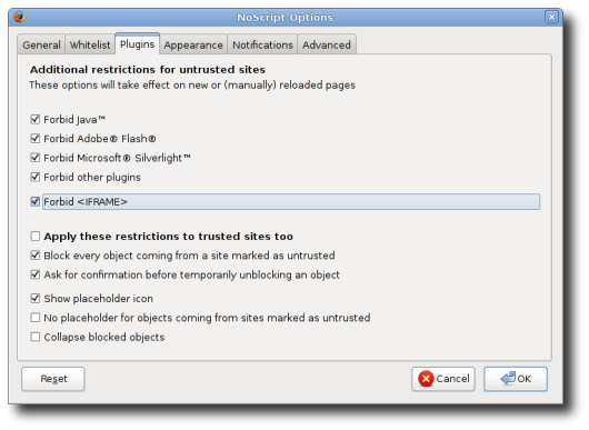 Fig.01: Mitigation for Clickjacking under Firefox with NoScript Plugin
