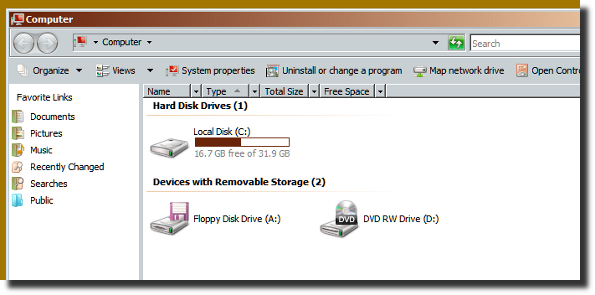 Fig.06: Windows Vista Running As Guest with 32GB virtual disk space.