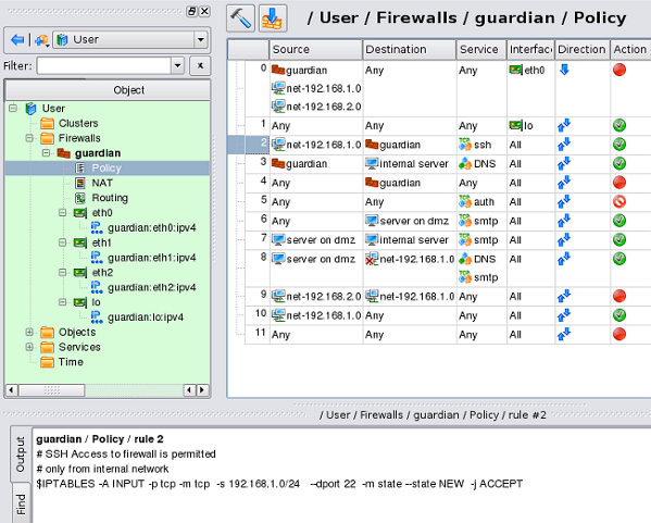 Fig.01: Firewall Builder v4.0 in Action