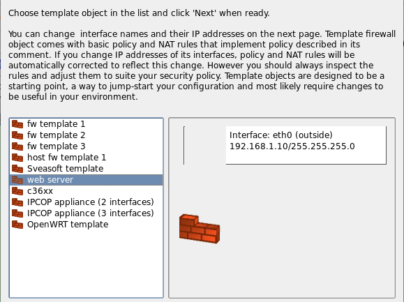 Figure 6. Choosing template firewall object