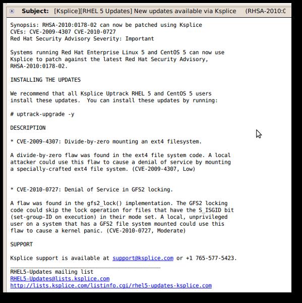Fig.01: Ksplice Update Notification
