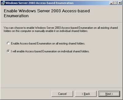 Hiding folders or files under Windows 2003 SP1