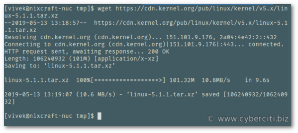 wget Linux kernel source code from kerne.org