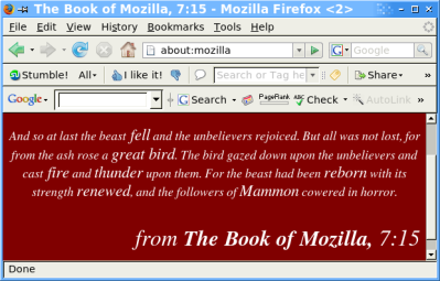 Humor: The Book of Mozilla – Mozilla firefox Easter egg