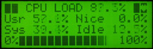 The CPU Utilization screen displays the system's current CPU utilization. These values are the normal values reported by Linux.