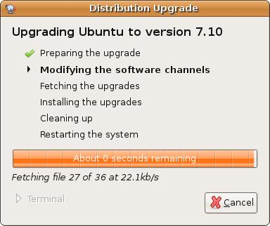 Upgrading Ubuntu Linux 7.04 to Gutsy Gibbon 7.10