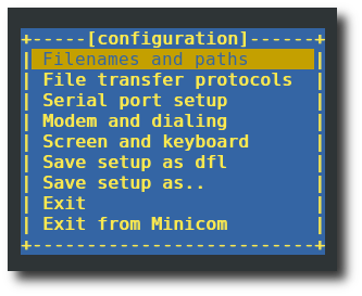 Minicom in configuration mode with colour console