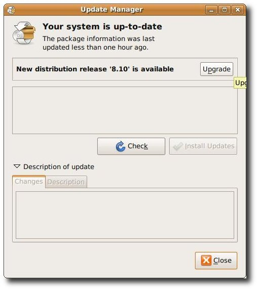 Fig.01: Ubuntu Upgrade in action - new distribution release 8.10 is available
