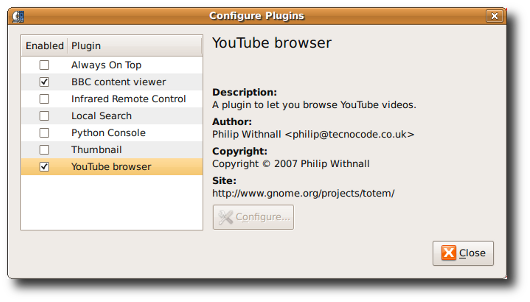 Fig.01: The Totem Movie Player Plugins
