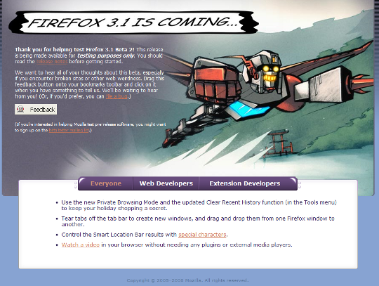 Download of the day: Firefox 3.1 Beta 2