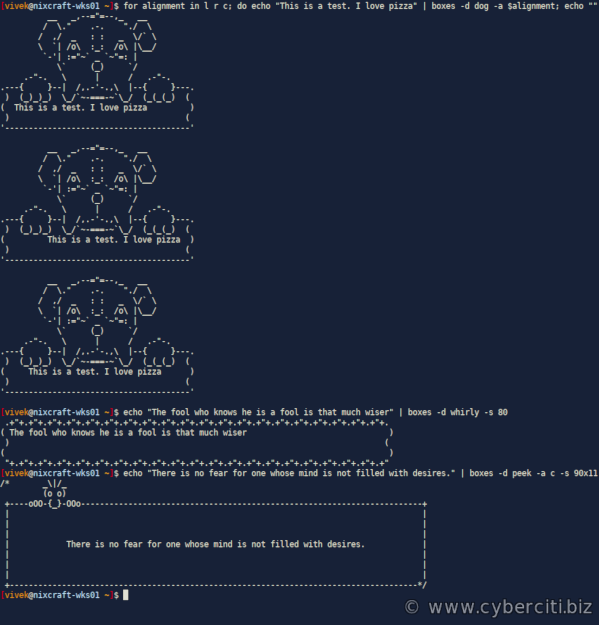 Text Mode ASCII-art Box Examples for Linux and Unix desktop fun